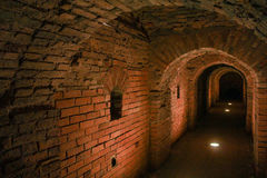 The loopholes in the ramparts. Visit musketeer chambers of the Peter-Paul Fortress in the framework of the cultural forum in St. Petersburg Stock Photography