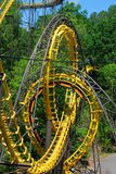 Loopin Coaster. Looping roller coaster with interlocking loops Royalty Free Stock Photography