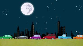 Looping Cartoon Vector of Cars in Heavy Traffic Driving on a New York Skyline At Night