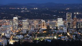 Looping day to night timelapse of Portland, Oregon, United States 4K stock footage