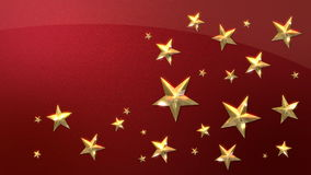 Looping Gold Stars on Metallic Red. Looping Animation of Festive Gold Stars on a Sparkling Red Background stock video footage