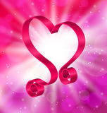 Looping Pink Ribbon in Form Heart for Happy Valentines Day. Illustration Looping Pink Ribbon in Form Heart for Happy Valentines Day on Lighten Background Stock Image
