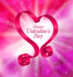 Looping Pink Ribbon in Form Heart for Happy Valentines Day. Illustration Looping Pink Ribbon in Form Heart for Happy Valentines Day on Lighten Background Stock Photo
