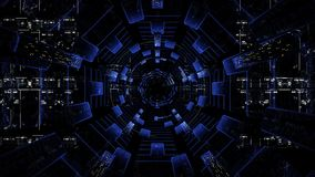 Looping sci fi cosmic hud tunnel.Endless infinite technological sci fi tunnel. stock video