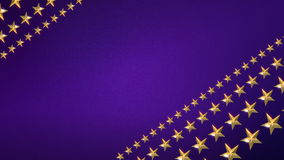 Looping Stars on Royal Purple. Looping Animation of Gold Stars Rotating on a Sparkling Purple Background stock video footage