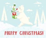 Looppas ijsbeer met de Skandinavische kaart van de giftdoos Nieuw jaar stock foto's