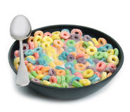 Loops. A breakfast bowl of colorful cereal Stock Photos