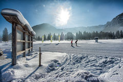 Ski loops at Pertisau, Karwendeltal at the Alps in Tyrol, Austria Royalty Free Stock Image