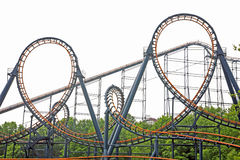 Loops on Roller Coaster royalty free stock photography