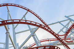 Loops of rollercoaster. Under blue sky Stock Image