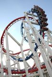 The loops of a scaring roller coaster. Picture of The loops of a scaring roller coaster Royalty Free Stock Photography