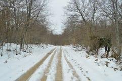 Loopvlaknoteringen in de Sneeuw praktisch Maagdelijke Weg aan Nervion-Riviersprong Één van de Hoogste Watervallen in Europa Lands royalty-vrije stock afbeeldingen