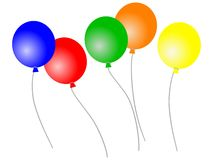Loose balloons. Vector of 5 colourful balloons flying loose. In vector format each balloon is grouped with its string for easy movement stock illustration