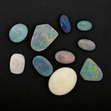 Loose black opals Stock Image