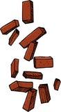 Loose Bricks. Group of loose bricks falling on white background Stock Photos