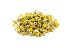 Loose camomile tea on white Royalty Free Stock Image