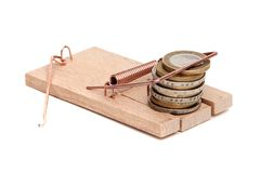 Loose cash on mousetrap Royalty Free Stock Photos