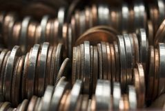 Loose Change. Closeup image of rows of US coins royalty free stock photos