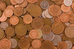 Loose change. Of various denominations Stock Photos