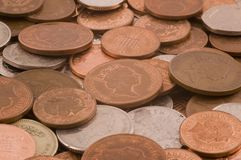 Loose change. Of various denominations Royalty Free Stock Images