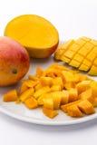 Loose Cubes Of Mango Fruit Flesh And Scored Pulp Stock Photos