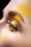 Loose eyeshadow, close-up on a woman eye Stock Image