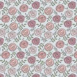 Beautiful Rose and Leaf Seamless Repeating Pattern. stock photos