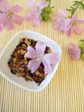 Loose fruit tea with mallow flowers. In little bowl Royalty Free Stock Images