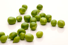 Loose garden peas on white Royalty Free Stock Photography