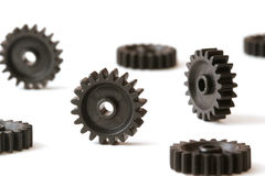Loose Gears. Several plastic gears on a white background Stock Photography