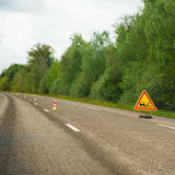 Loose gravel on the highway Royalty Free Stock Photos