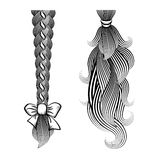 Loose hair in a plait and ponytail. Black and white vector illustration of loose hair tied in a plait and ponytail with a ribbon and band Royalty Free Stock Photo