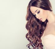 Loose hairstyle and evening make up. Stock Photos