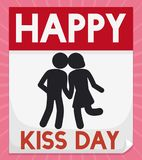 Loose-leaf Calendar with Affectionate Couple for Kiss Day, Vector Illustration. Loose-leaf calendar with a romantic couple in pictogram style to commemorate Kiss Royalty Free Stock Photography