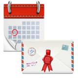Loose-leaf Calendar With Closed Envelope. Stock Photography
