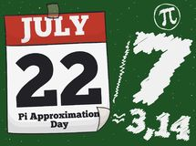 Loose-leaf Calendar and Drawings for Pi Approximation Day, Vector Illustration. Loose-leaf calendar with reminder date over a chalkboard with the fraction, a pi Royalty Free Stock Photography