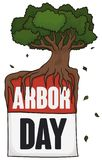 Loose-leaf Calendar and Tree for Arbor Day Event, Vector Illustration. Loose-leaf calendar with giant tree in the top of it, with some leaves like confetti to Royalty Free Stock Image