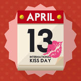 Loose-leaf Calendar Indicating International Kiss Day in April 13th, Vector Illustration Stock Photography