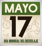 Recycled Loose-leaf Calendar for Recycling Day Celebration in Spanish, Vector Illustration. Loose-leaf calendar made out recycled paper with reminder date and Stock Photos