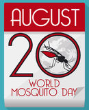Loose-leaf Calendar with Mosquito Inside to Commemorate World Mosquito Day, Vector Illustration Royalty Free Stock Photography