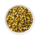 Loose Leaf Chamomile in a Ceramic Bowl Stock Image