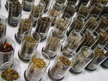 Loose Leaf Tea. Many flavors of loose leaf tea on display in glasses Royalty Free Stock Photo