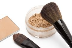Loose powder and compact powder Royalty Free Stock Photo