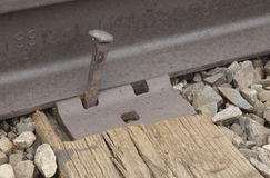 Loose Railroad Spike. Railroad spike is coming loose, could this cause a train derailment Stock Images