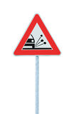 Loose Shoulder Gravel Chippings Hazard Warning Road Sign Isolated Roadside Traffic Signage Pole Post Signpost Royalty Free Stock Image