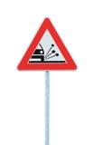 Loose Shoulder Gravel Chippings Hazard Warning Road Sign Isolated Roadside Traffic Signage Pole Post Signpost. Loose Shoulder Gravel Chippings Hazard Warning royalty free stock image
