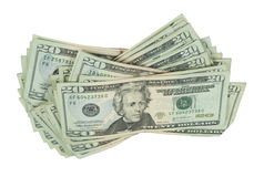 Loose Stack of Money. In the form of many large bills - path included royalty free stock images