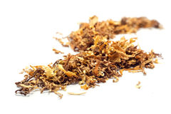 Loose tobacco, close up isolated on white Royalty Free Stock Image