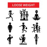 Loose weight illustration, thin line icons, linear flat signs  Royalty Free Stock Photography