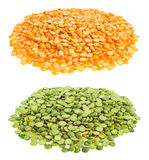 Loose yellow & green split peas Royalty Free Stock Photos
